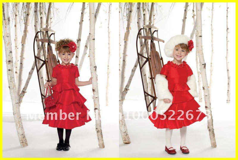 2012 New Arrival Taffeta Flower Short A line Cute Princess Flower Girl Dress