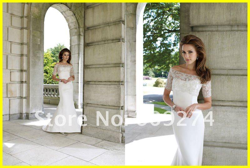 Sleeve Taffeta Lace Mermaid Affordable Wedding Dress Bridal Gown