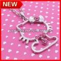 Free Shipping New Style Hello Kitty Pendant Necklace Jewelry, 60pcs/lot+Free organza jewelry gifts bag