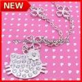 Free Shipping Wholesale X-MAS Hello Kitty Pendant Necklace, 60pcs/lot+Free organza jewelry gifts bag