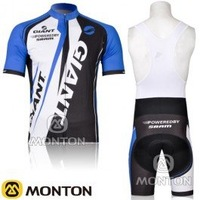 free shipping! new 2011 Giant team blue short sleeve cycling jersey and black bib shorts Kit,bike jersey,short cycling wear