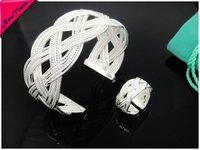 Ювелирный набор EB17 Fashion Multi String Cuff Bangle + Ring 925 Silver Jewelry Set Christmas Gift