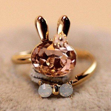 Wholesale hot sale delicate crystal wedding rings rabbit bowknot rings