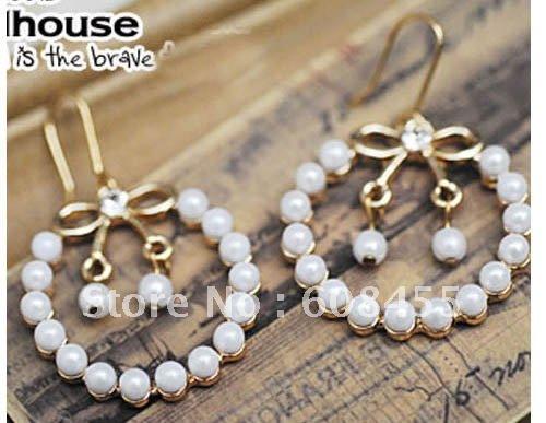 Promotion925 Sterling Silver Pearl Drop EarringFree shipping Wholesale