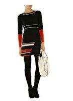 Free Shipping Colourblocked Stretch Satin Dress ( UK size 8 10 12 14 16 ) 120407KM03