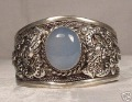 Beautiful New Tibetan Tibet Silver Totem Bangle Inlay moonstone cuff bracelets