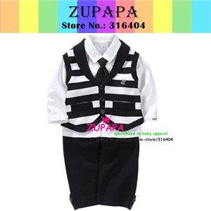 Clothing set children sets shirt tie vest pants baby wear kids set