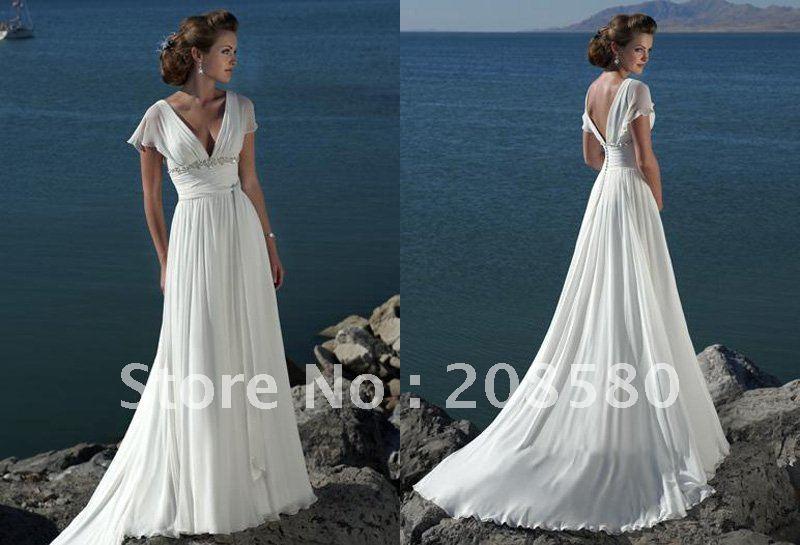 Short sleeve vneck beaded chiffon summer beach bridal wedding dresses gowns