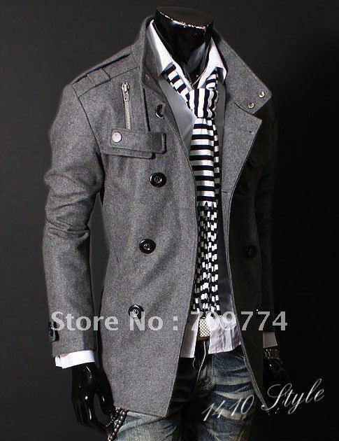 Grey Pea Coat Mens Photo Album - Reikian