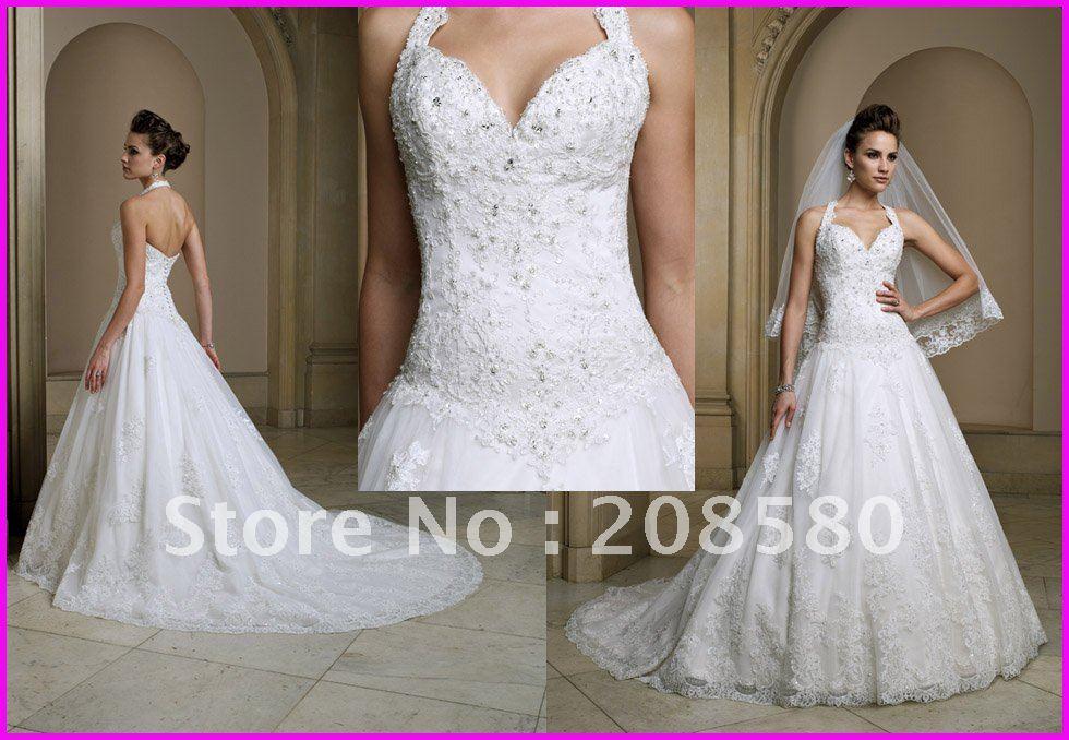 1000 images about halter wedding dresses on pinterest for Beaded wedding dress designers
