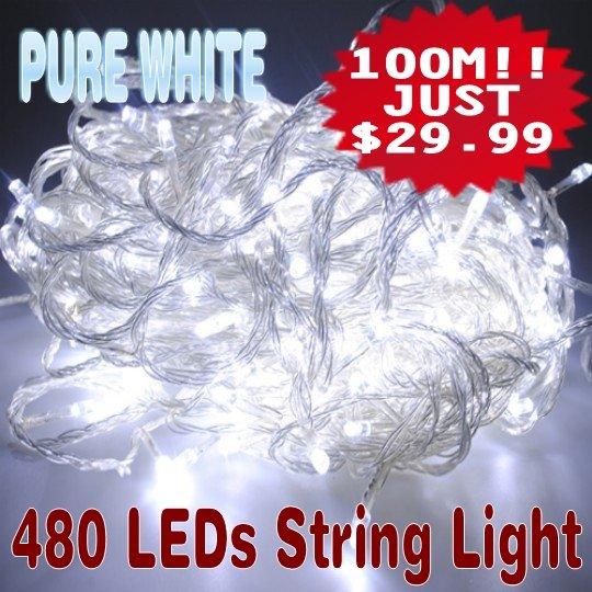 100m white 480 led string wedding party fairy tree christmas xmas lights