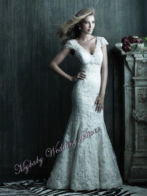 La S 2011 Mermaid Trumpet High Collar Cap Sleeve Bridal Wedding Dresses La