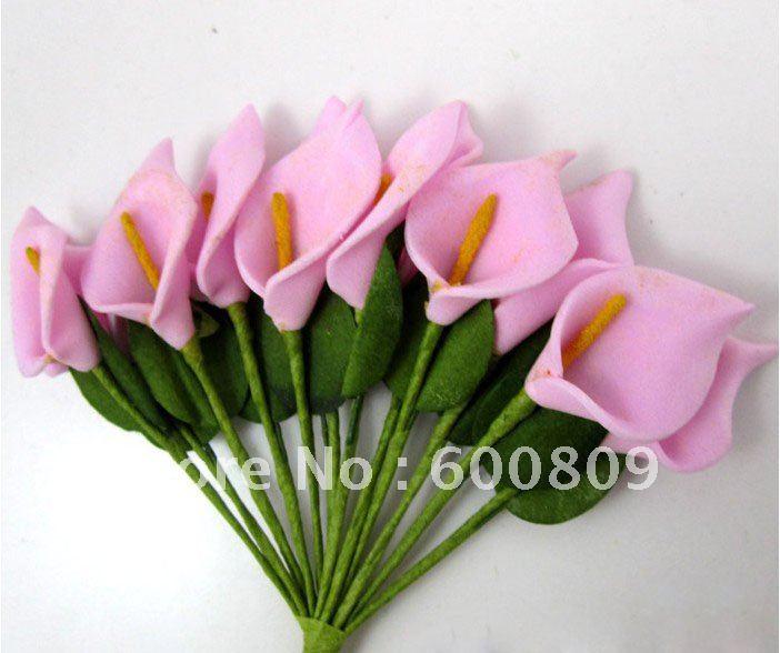 144 branches Pink Handmade Mini Calla Lily Flower Wedding Scrapbookinggift