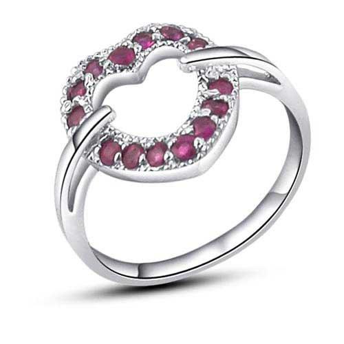 Free Shipping Genuine Natural Gemstone JewelryGenuine Ruby Girls 39 RingReal