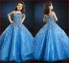(H-22)Custom Made Sapphire Blue Full Beaded A-line Organza Luxury Vintage For Wedding Dancing Flower Girl Dress Patterns