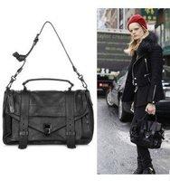 Free shipping women ladies motorcycle style woollen + PU leather one shoulder bag handbag