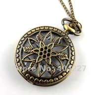 Карманные часы на цепочке Free Ship Vintage Bronze Pocket Watch Necklace Pendant mens charm Jewelry necklaces watches pendants long chain LSY17