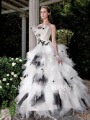 2012 Best Design Ball Gown Strapless Court Train Net Black And White Unique Wedding Dress Free Shipping