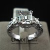 Exclusive! White gold Plated Rectangle Emerald Cut CZ Zircon Engagement Ring (Umode JR0060)