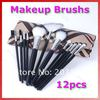 12 Pcs Pro Eyebrow Lip Eyeshadow Makeup Brush Cosmetic Brushes Set Case Bag