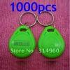 Free Shipping RFID Proximity ID Token Tag Key Ring 125Khz RFID cards Green 1000pcs/lot