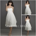BWD899 Free Shipping Best Selling White Chiffon Strapless Knee Length Bridesmaid Dress