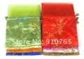 Free shipping! lots 200pcs chiffon Silk Brocade Pouches bags Organza Drawstring silk bag