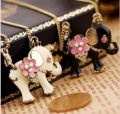 Vintage style BJ Brand Flower elephant Necklaces(have BJ brand tag Chain Size:36+6cm) Free Shipping 2 Color can choose