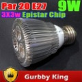 Par20 bulbs lamps 9w E27 spotlight Epistar costomize lighting color 10pcs
