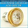 High power led spotlight 3W Warm white/cold white AC85-265V E27 Free Shipping