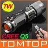 7W 300LM Mini CREE Q5 LED Flashlight Torch Adjustable Focus Zoom Light Lamp Flash Light Free Shipping wholesale