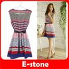 Free Shippiong 3pcs/lot 2012 Hot Summer Women Sleeveless Casual Colorful Stripes Party With Belt Mini Dress