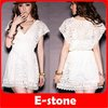 Free Shipping 2012 Women Deep V-neck Lace Short Sleeve Tunic Tops Perspective See Through Mini Dress White