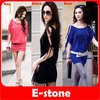 D19+Free Shipping 3pcs/lot Sexy Women Korea Off Collar Strappy Mini Dress Long Top Poly Cotton 3 different color