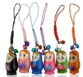 FreeShip 50 Pieces Mixed Matryoshka Russia Russian Nesting wood wooden Doll cell phone strap Keychain Bell Christmas Gift