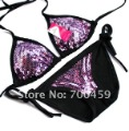 1Set Sequin sexy fashion Halter Bikini Swimwear NEW Bikini Swimwear bra+briefs Swimwear +Free Shipping