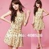 2013 New Women's Dress Bird Animal Pattern Crew Neck Casual sleeveless Chiffon Dress Sundress free shipping 4557