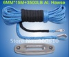New Strong 100% UHMWPE Synthetic Winch Cable/Rope 6MM*15Meter+Hawse Fairlead for 4WD/ATV/UTV/SUV Winch Use////free shipping