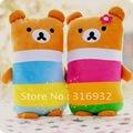 J2 Multicolour rainbow Rilakkuma plush toy cushion, cute Rilakkuma pillow, 1pair