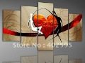Free shipping home decoration abstract art heart honey 5 panels handmade oil painting on canvas huge size From artist YPA0109