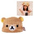 J4 Free Shipping , Soft Cartoon Rilakkuma Bear Plush Hat, Fashion christmas Gift