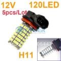 Free Shipping 5pcs/Lot New H11 SMD 3528 120-LED Car Fog Parking Head Light Lamp Cold White 12V Vehicle 4455
