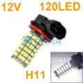 Free Shipping New H11 SMD 3528 120-LED Car Fog Parking Head Light Lamp Cold White 12V Vehicle 4455