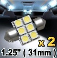 2pcs 31mm 5050 SMD 6 LED Festoon Dome Car Light Lamp Bulb White 12V