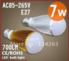 Led dimmable bulbs 7w 700lm bubble ball white led light e27 B22 e14 AC85-265V silver/gold shell color,warm/cool lamp