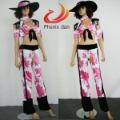 sexy pink black cowgirl costume chaps fringe hat western top women's fancy dress