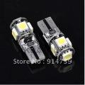 Free Shipping 50pcs/lot T10 Canbus W5W 194 5050 SMD 5 LED Error Free White Light Bulbs