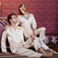 NWT cheap 2 piece men's mens spandex bodysuits silk satin couple lovers sleepwear sleepwear lounge pajamas set top pants 2212