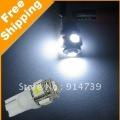 Free shipping 50pcs/lot 194 168 w5w Car light T10 5 SMD 5050 LED White 12V Wedge Bulb car interior Lamp