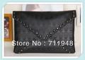 hot sell! New Style day evening bag clutch black rivet skull shoulder bag Handbag vintage Designer Lady cool Fashion brand